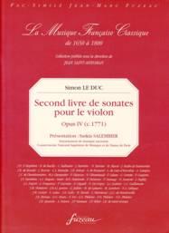 Second livre de sonates pour le violon. Op. IV (ca 1771).