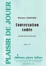 Wieslaw JANECZEK : Conversation codée  pour caisse claire, tom basse et piano. Débutant. Lafitan : P.L.2915.